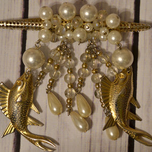 huge antique fish brooch pin dangle pearl gold ton